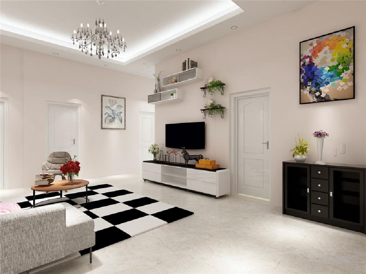 客厅作为待客区域,空间布局合理,用白色地砖搭配黑白格地毯做现代风格,使整体看着宽敞明亮颜色搭配分明。