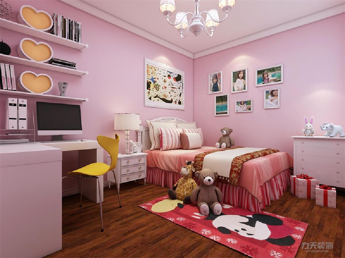 次卧为儿童房,整体空间为粉色乳胶漆,是整个空间更富有青春活力,次卧可放置衣柜,以及1.5*2米的单人床,床还有书桌都为白色实木。视觉感及表现光与影的和谐。