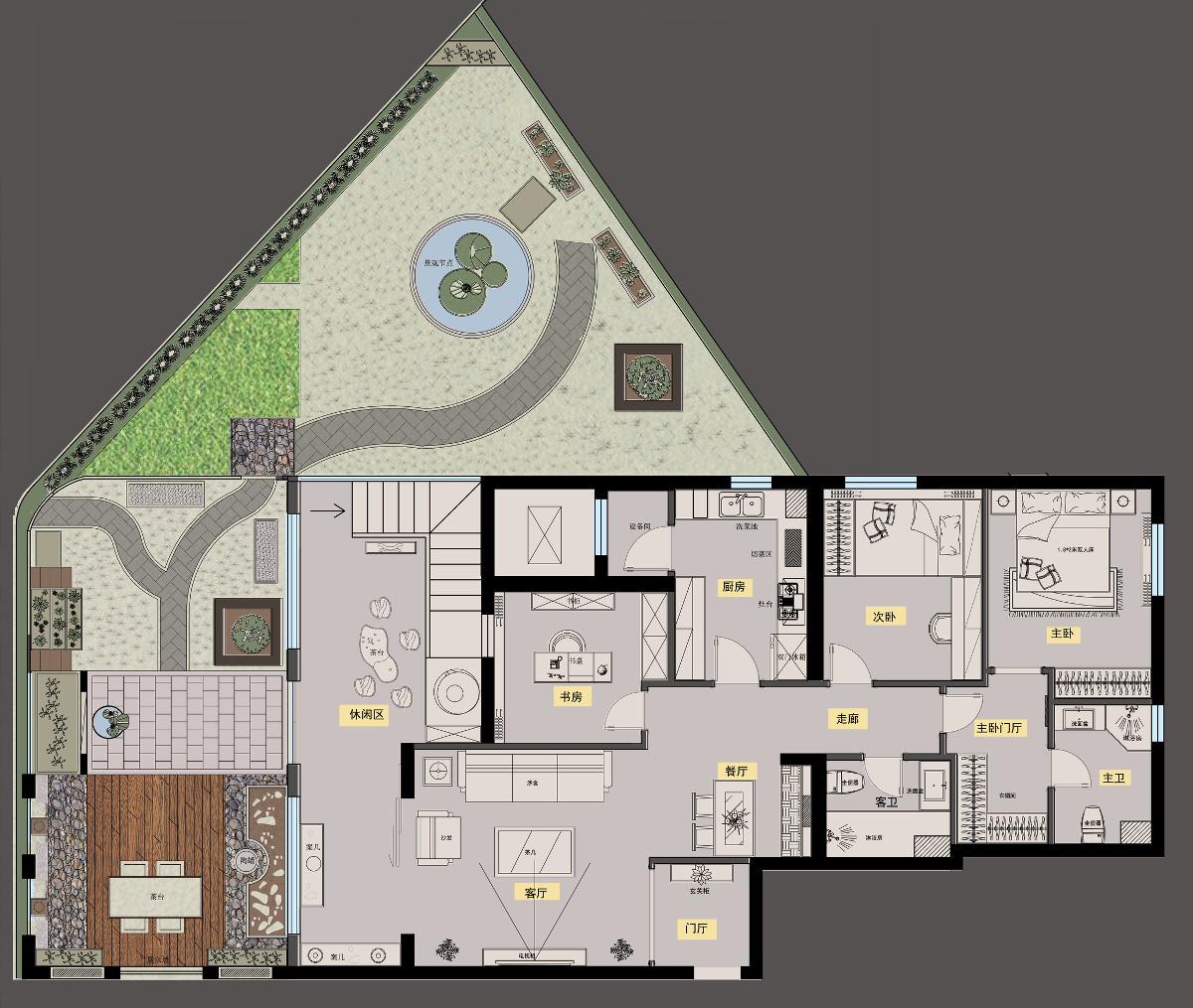 设计师林上淮在茶室设计中主要以现代简约的手法为主,平面吊顶和则反图片