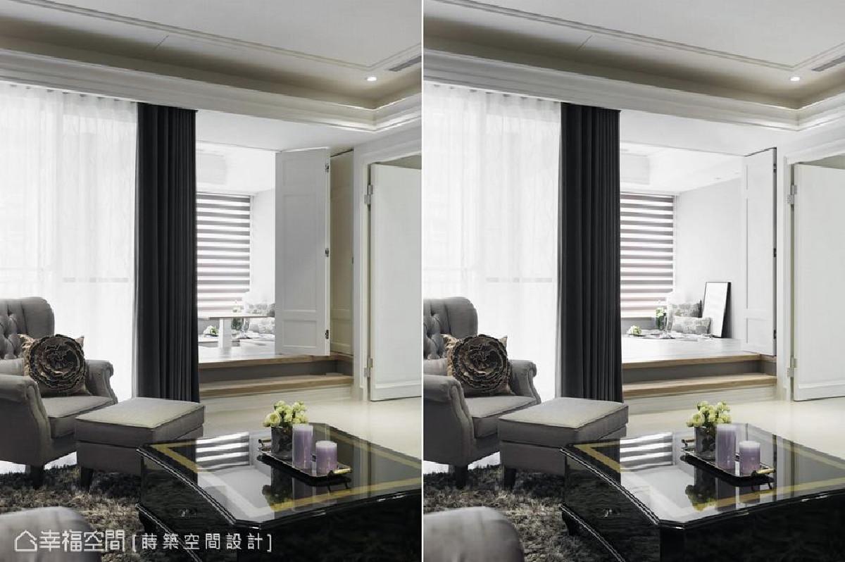 设计师朱皇莳于靠窗区规划一间和室,除了可以做为客房外,下方也具有大量的收纳空间,此外,和室更以折门形式划分与公共场域的机能。