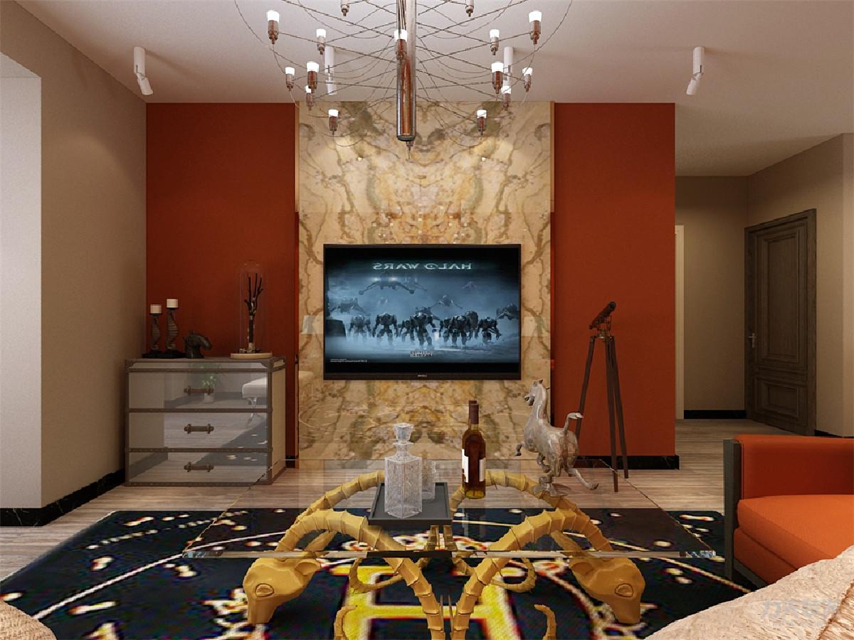 客厅的用色很大胆,使用了橙色和黄色进行了搭配,家具的颜色整体很素雅,所以摆放了多个绿植,增加了色彩搭配,地毯的样式选为有花样的,使空间看起来有理有序