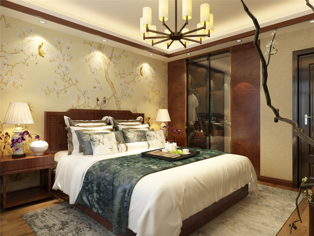 卧室床头墙面是黄色花鸟花纹的壁纸,其他墙面是和客餐厅一样的米黄色图片