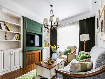 一抹绿色 98平清新美式雅致空间