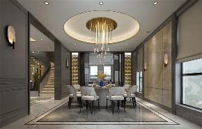 乔爱庄园 别墅装修 现代简约 腾龙设计 餐厅图片来自室内设计师徐文在乔爱庄园600平独栋别墅装修设计的分享