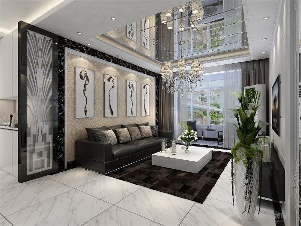 客厅电视背景墙用白色大理石做造型,两边用黑镜沙发背景墙用黑白两圈石材做边框,中间贴壁纸挂画做装饰。顶面则是回字形吊顶加石膏线,原顶贴黑镜拉缝。