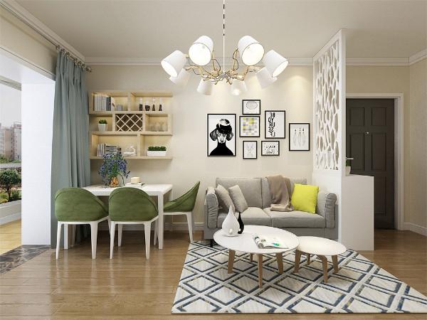客厅的设计中,整体采用鹅黄色的墙面乳胶漆,沙发采用灰色的布艺沙发,墙面用挂画装饰,门口采用矮柜家隔断的形式形成一个独立的小玄关。