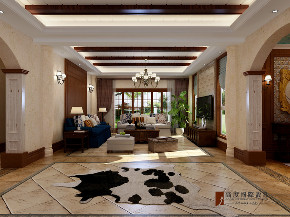美式 别墅 大户型 跃层 复式 小资 80后 客厅图片来自高度国际姚吉智在304平米美式乡村经典独栋别墅的分享