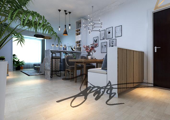 三居 茉莉公馆 现代风格 餐厅图片来自百家设计小刘在保利茉莉公馆104平现代简约风格的分享