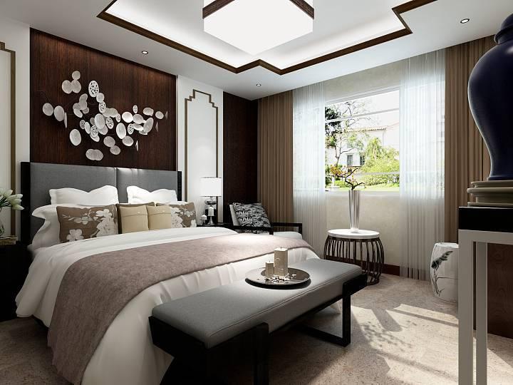 为让空间多点呼应,协调,主卧床的背景整面墙做木饰面,点缀中式挂饰,使图片