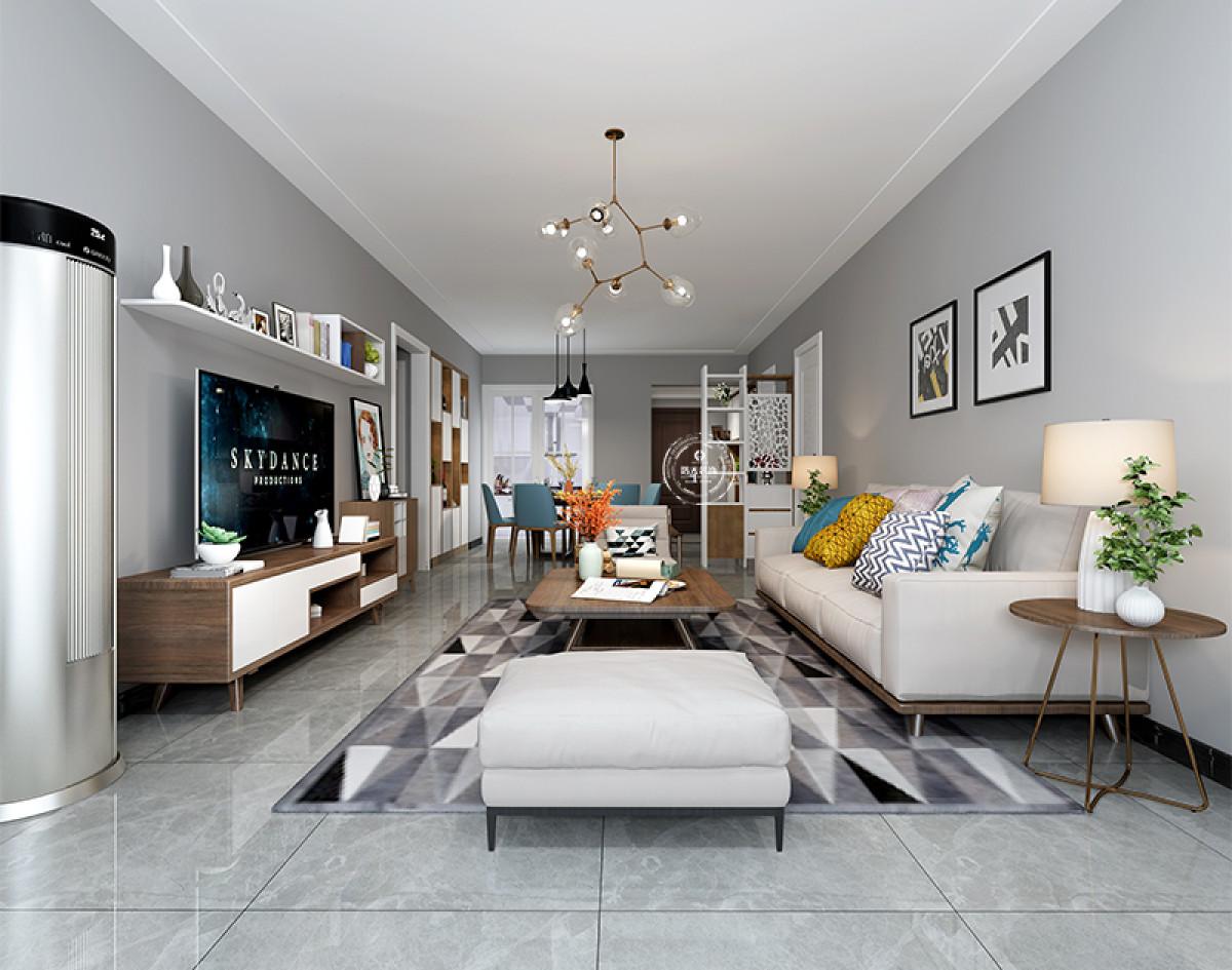 客厅没有过多复杂的硬装,搭配简洁的吊顶使得整体空间的氛围相得益彰。