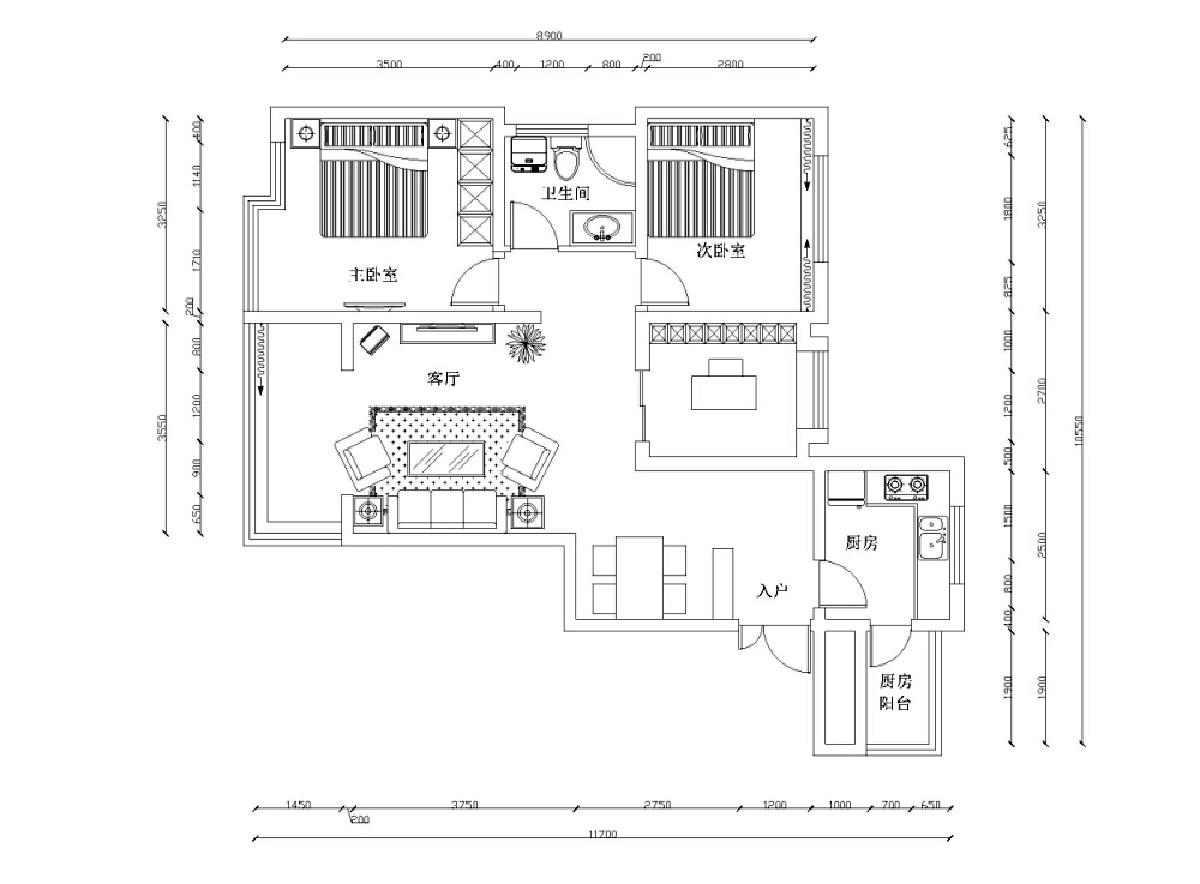 一进入户门首先右边是厨房,左边就是餐桌,餐桌和厨房对着,用餐方面是非常方便的,客厅餐厅和卧室分布都非常合理,并且采光,和私密性都设置的非常好。