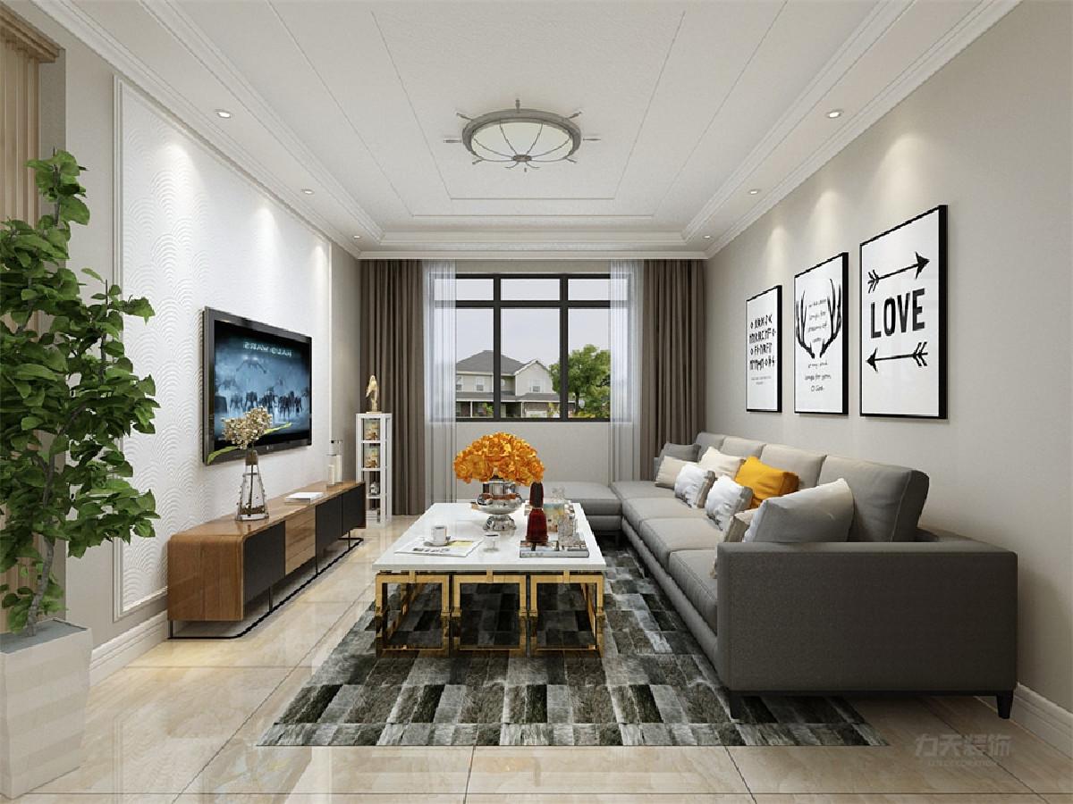 客厅的设计中,电视背景墙采用石膏线圈边中间刷硅藻泥