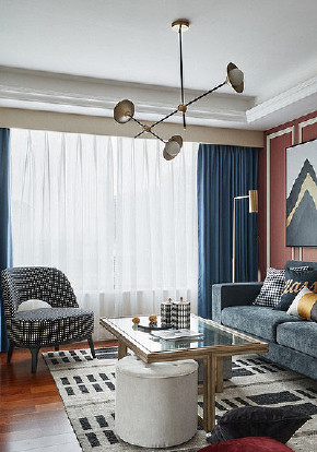 客厅图片来自家装大管家在简单优雅 100平现代美式混搭3居的分享