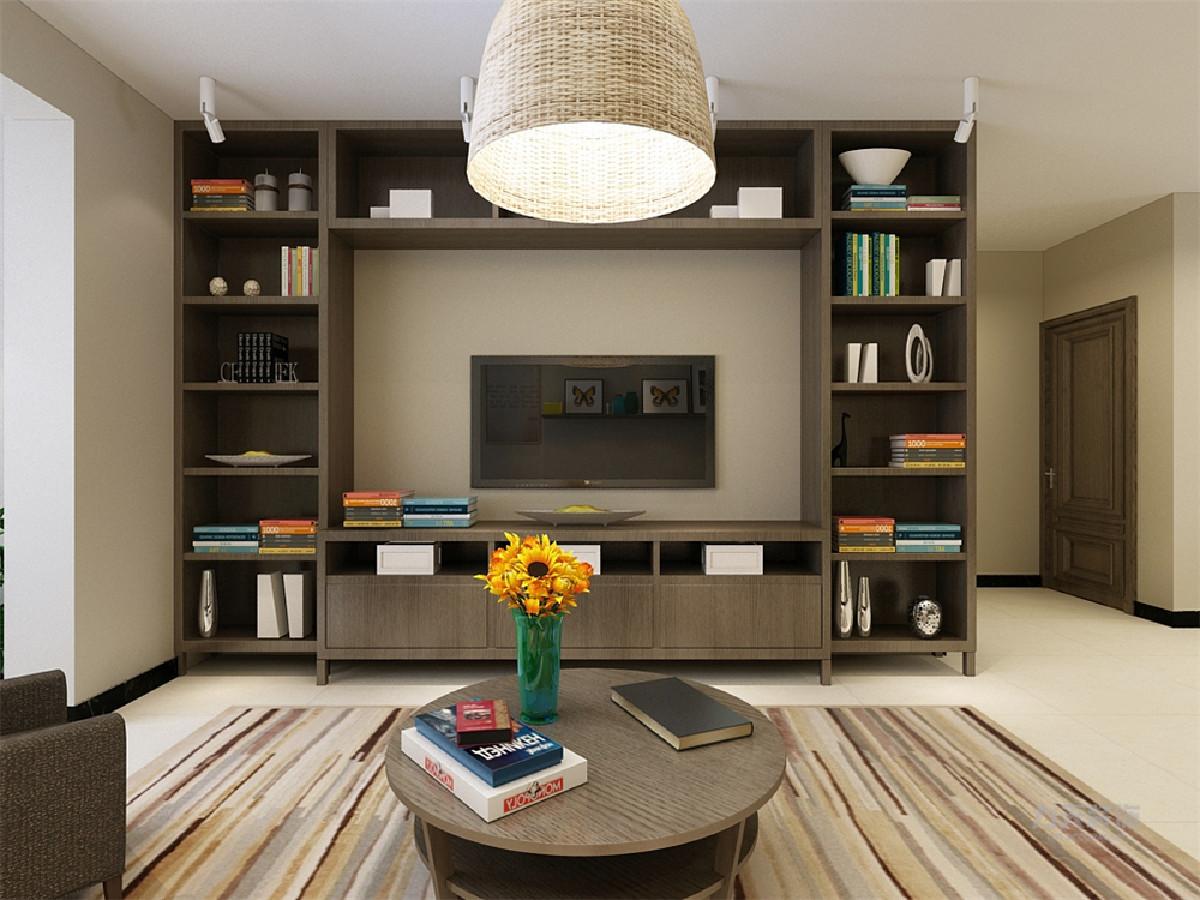 只采用了柜子,一整面的柜子,既簡單又大方,還增加了儲物空間,沙發背景圖片