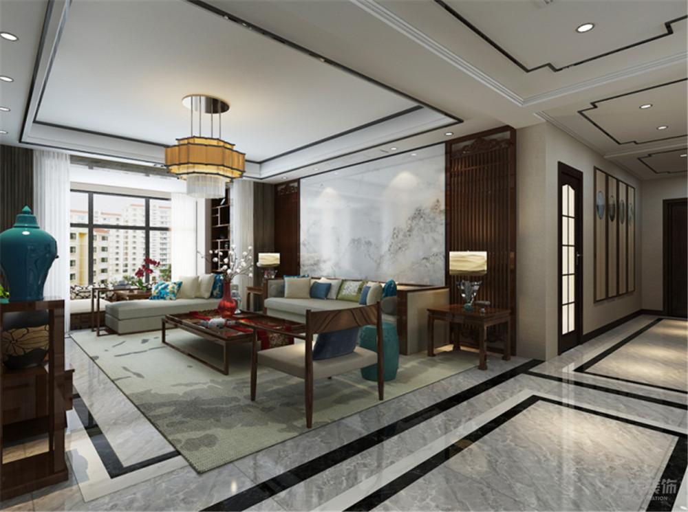 沙发背景是石材与木材做造型,客厅地面800*800地砖,地面圈两圈波打线