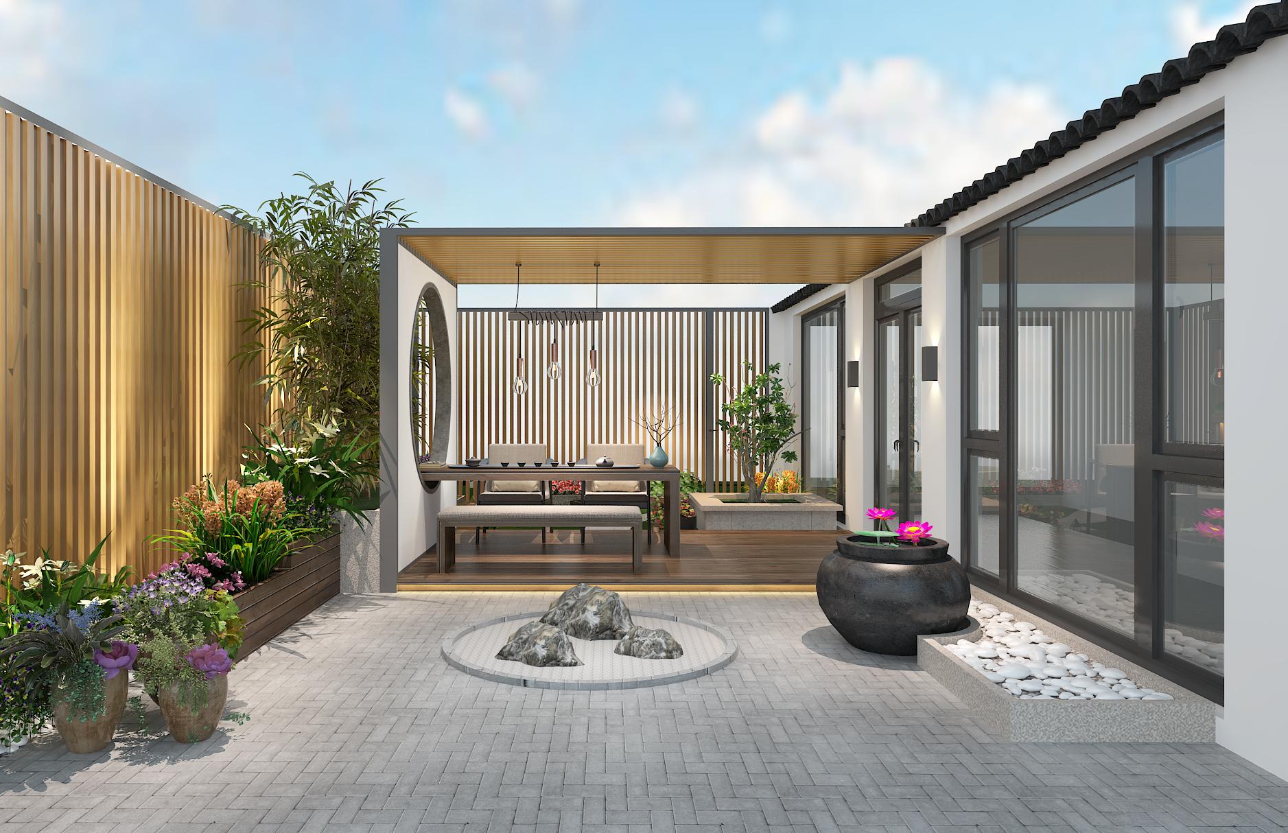阳台图片来自圣奇凯尚室内设计工作室在圣奇凯尚装饰—新中式院景的分