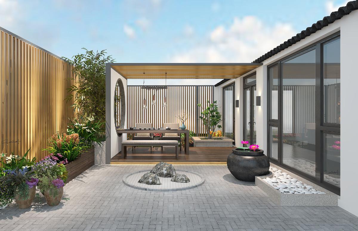 庭院:原木格栅、灰砖原木、白墙灰瓦、竹子、莲、陶瓷瓦罐、碎石、花丛草木,一壶清茶,信步闲庭,有声有色,意境之中生活之美。