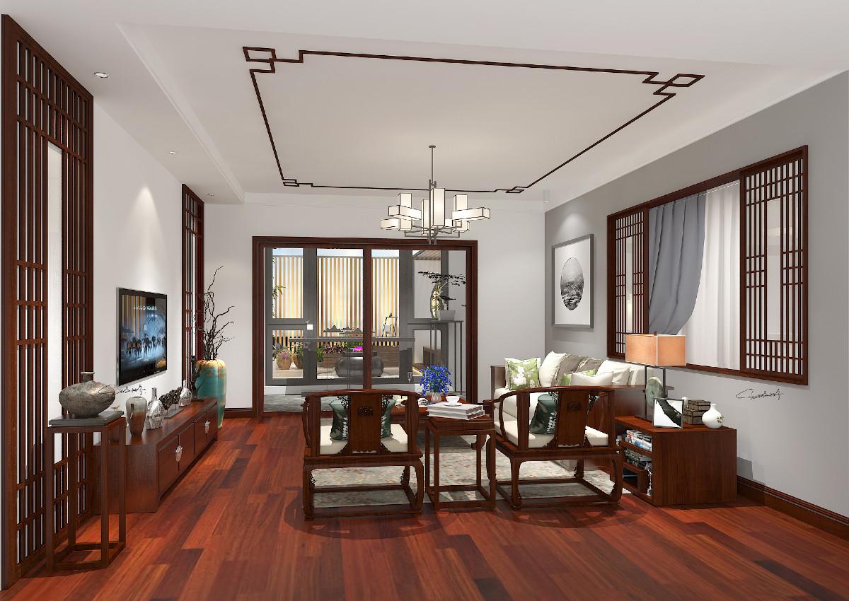 客厅:新中式简约的原木家具,不需要过多的造形,硬装设计上以简约为主,透过沙发背景墙镂空条形窗的设计,坐在书房也能观赏着客厅,增加了空间的通透性,以空间视野开阔为主。