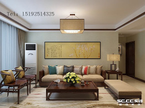 三居 装修设计 新城 香溢紫郡 装修 中式 客厅图片来自实创装饰小彩在新城香溢紫郡110平新中式的分享