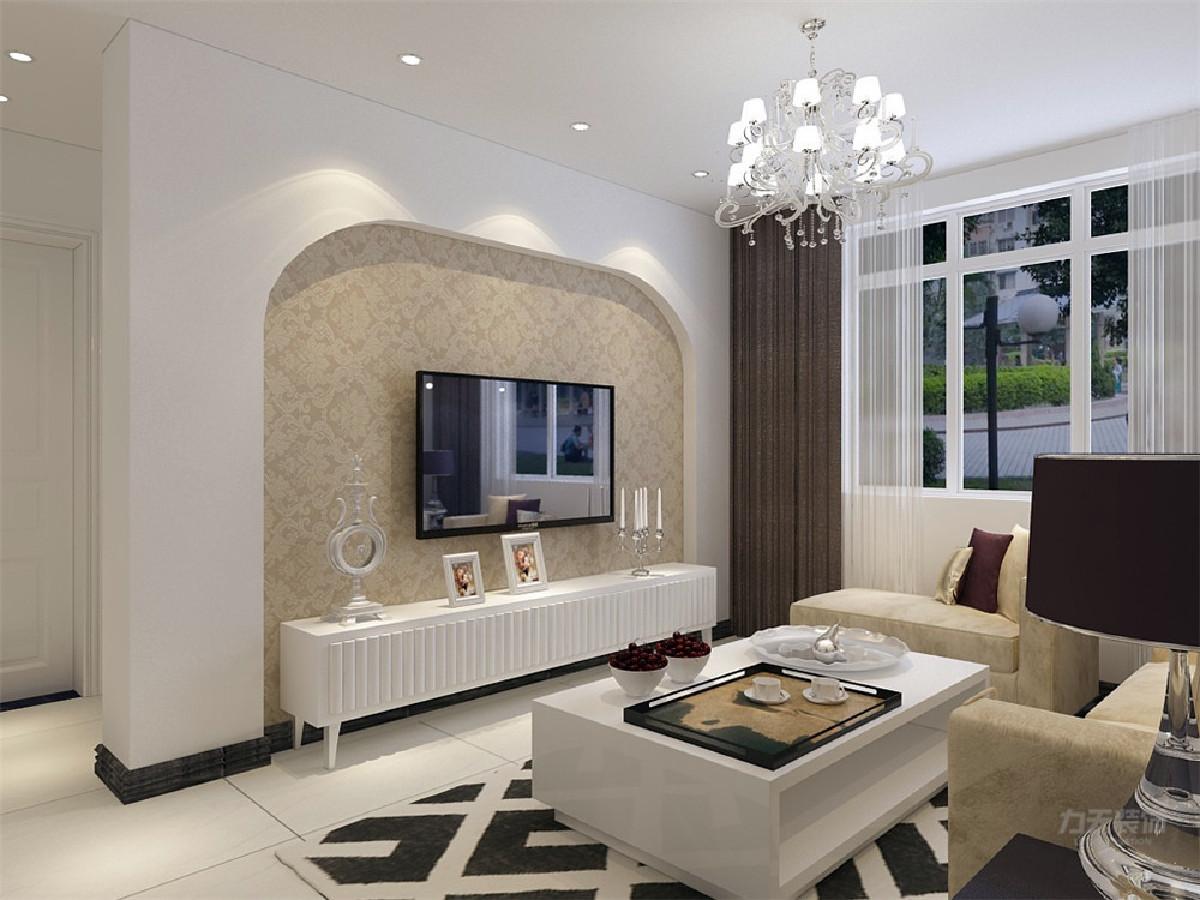 电视背景墙用简单的弧形造型和花纹壁纸,营造出宽敞整洁的氛围