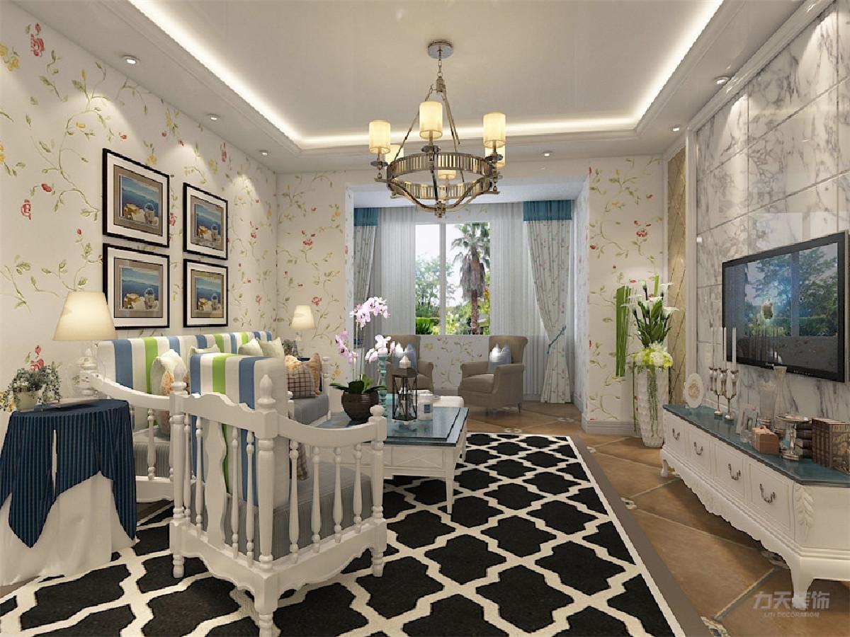 客厅吊顶做回型灯池,简单大方。沙发背景墙用挂画简单装饰。电视背景墙石材处理,显示大气