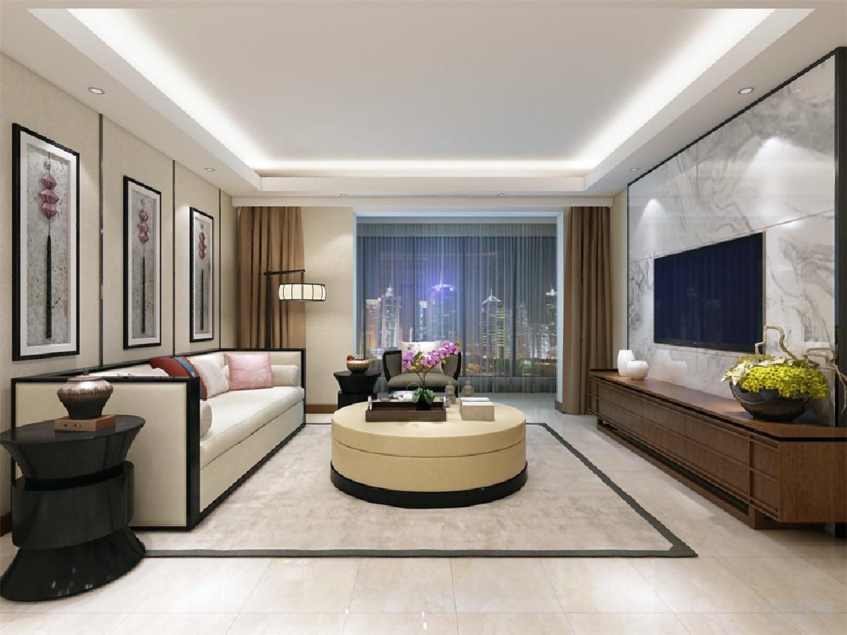 沙发背景部分简单的用木条切割分割空间挂上具有中国特色的挂饰,格调雅致,有内涵。