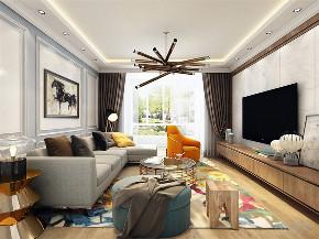 客厅图片来自阳光放扉er在力天装饰 奥莱城 109㎡ 欧式的分享