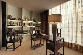 中式 四居 大户型 复式 跃层 别墅 小资 80后 书房图片来自高度国际姚吉智在253平米新中式一半优雅一半温情的分享