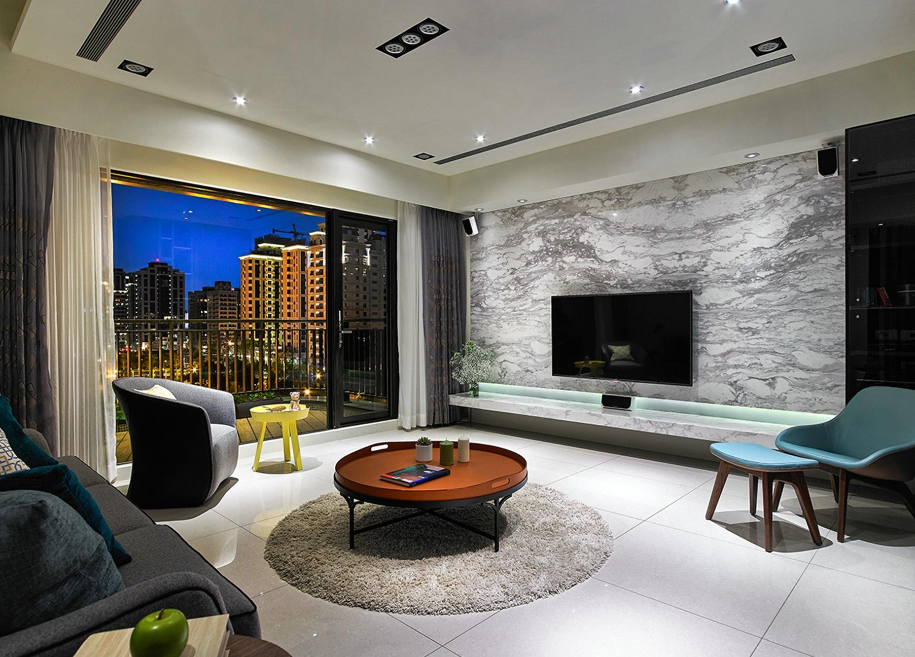 80后 小资 二居 客厅图片来自高度国际姚吉智在138平米后现代黑白灰