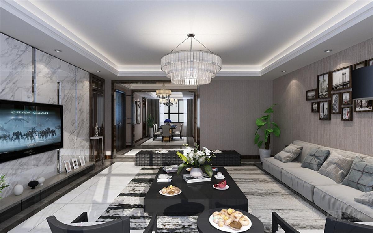 三级吊顶_客厅有一个灰色的沙发,与白色的大理石电视背景墙呼应