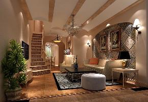 客厅图片来自北京高度国际在潮白河孔雀城190平米美式田园的分享