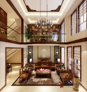 中式 别墅 跃层 复式 大户型 80后 小资 客厅图片来自高度国际姚吉智在首创国际半岛320平米新中式别墅的分享