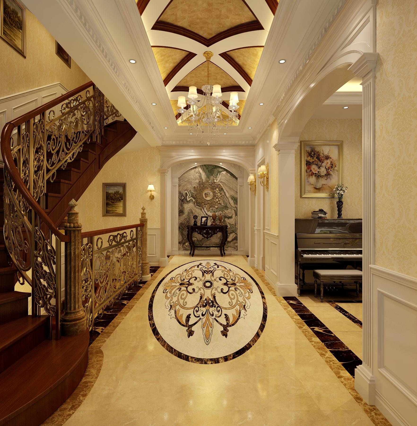 室内装修 楼梯图片来自北京高度国际-陈玲在金地中央世家奢华欧式风格