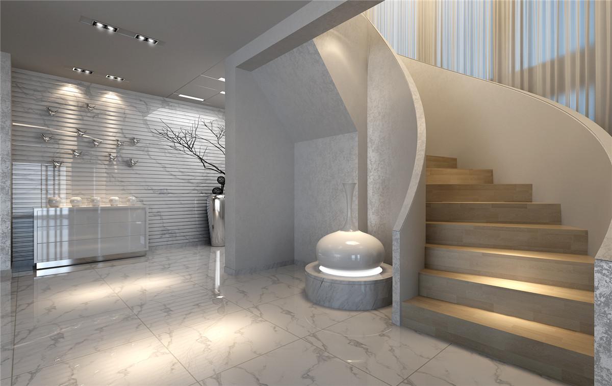长岛别墅 别墅装修 现代风格 腾龙设计 刁振瑛作品 楼梯图片来自孔继民在长岛别墅项目装修现代风格设计的分享