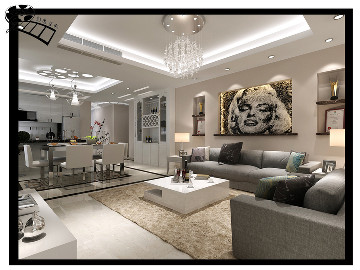 中海悦墅三室110平现代风格