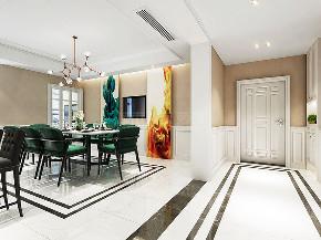 简约 现代 四居 西安装修 大户型装修 餐厅图片来自西安城市人家装饰王凯在时尚魅惑,215平现代风格4居室的分享
