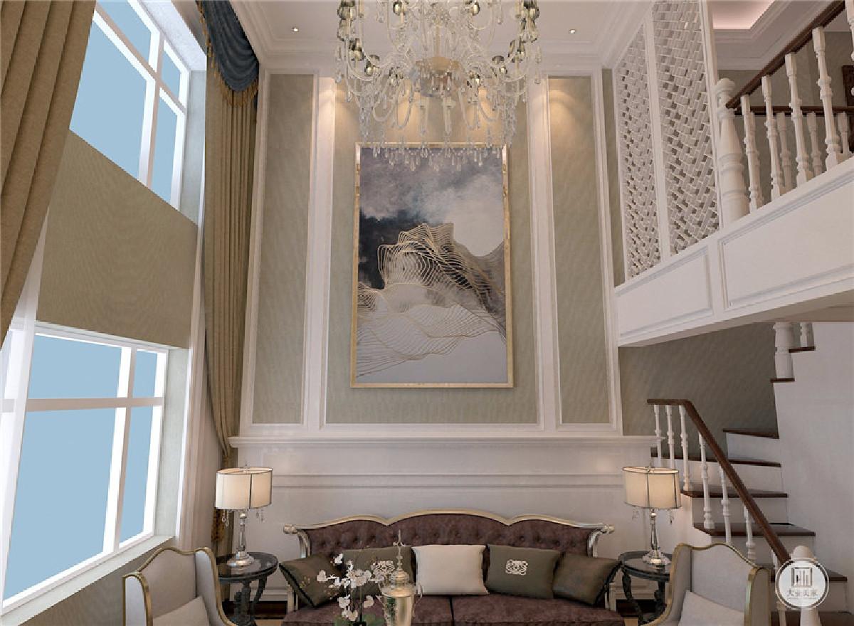 跃层设计混搭风格 沙发背景墙效果图 楼梯 跃层图片