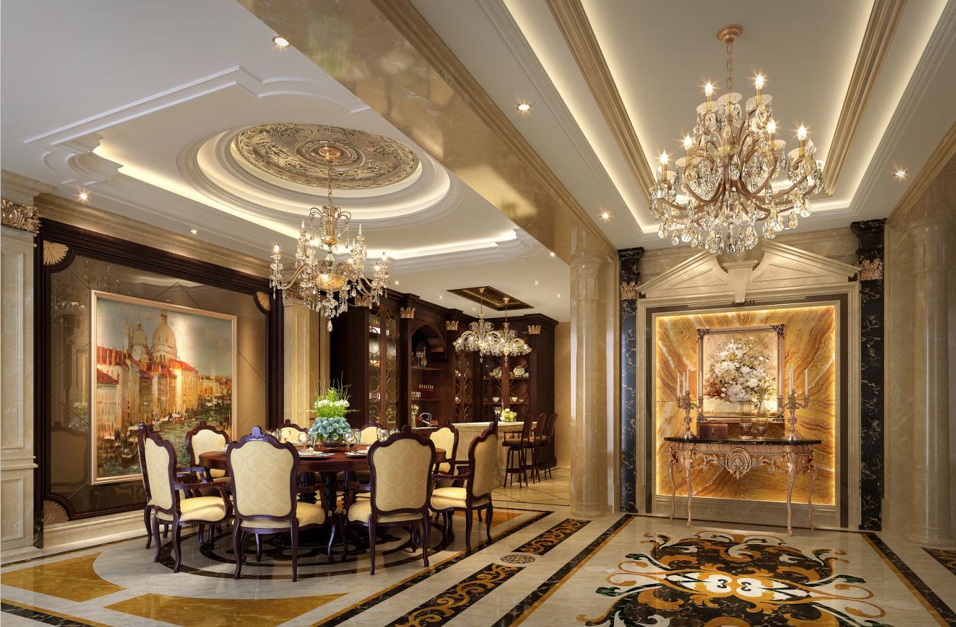 九龙仓兰宫别墅项目装修欧式古典风格设计,上海腾龙别墅设计师周峻图片