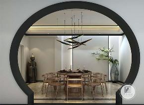 中式 新中式 别墅 设计 效果图 玄关 拱门 吊灯 餐厅图片来自大业美家 家居装饰在推荐:新中式的精髓黑白灰水墨的分享