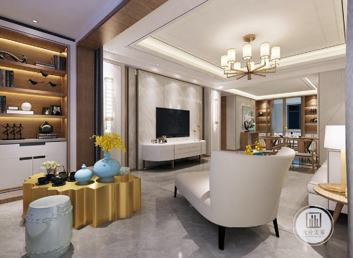 中冶143㎡新中式风格装修案例电视背景墙效果