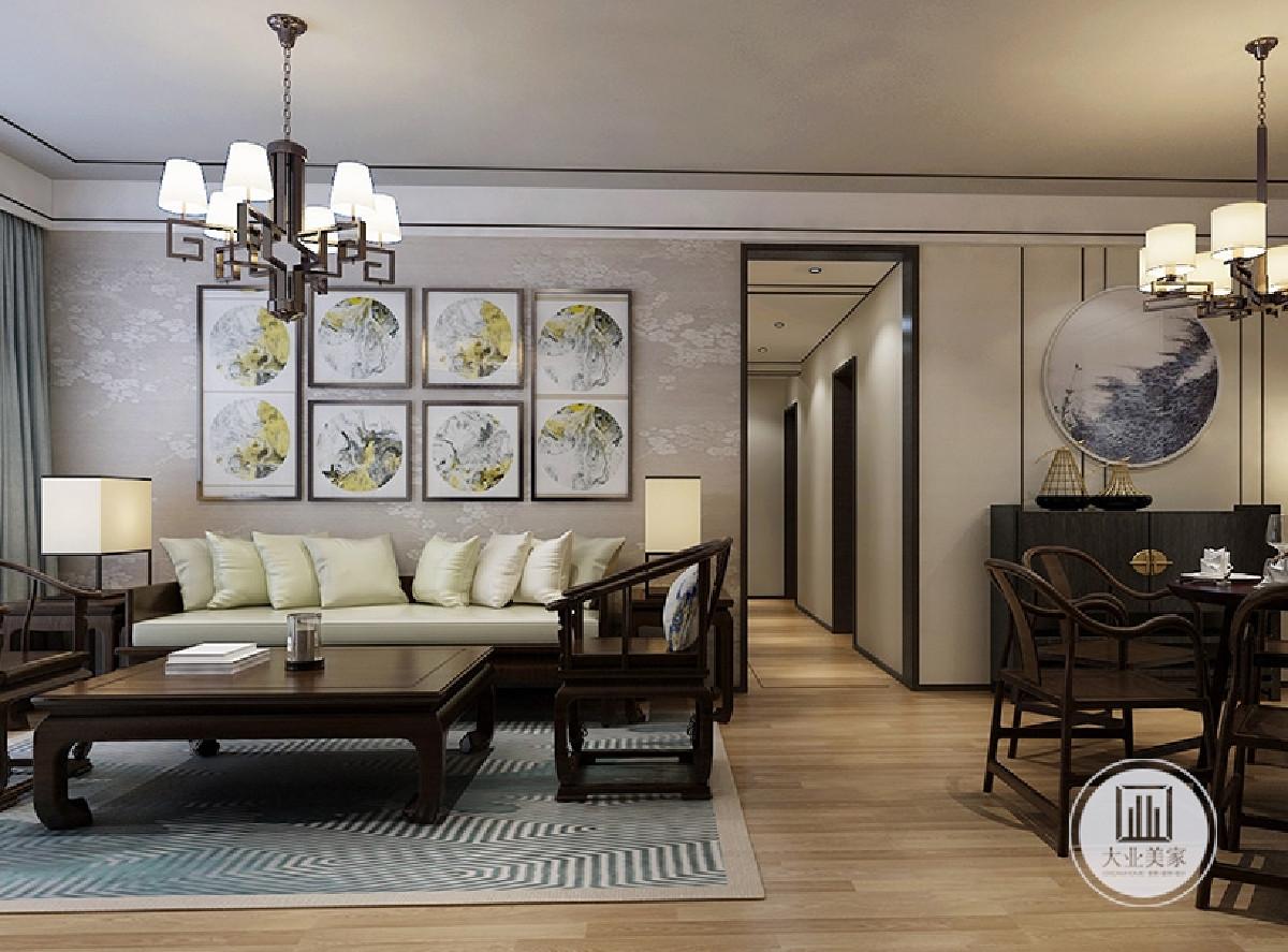 中冶123㎡新中式风格装修案例客厅效果
