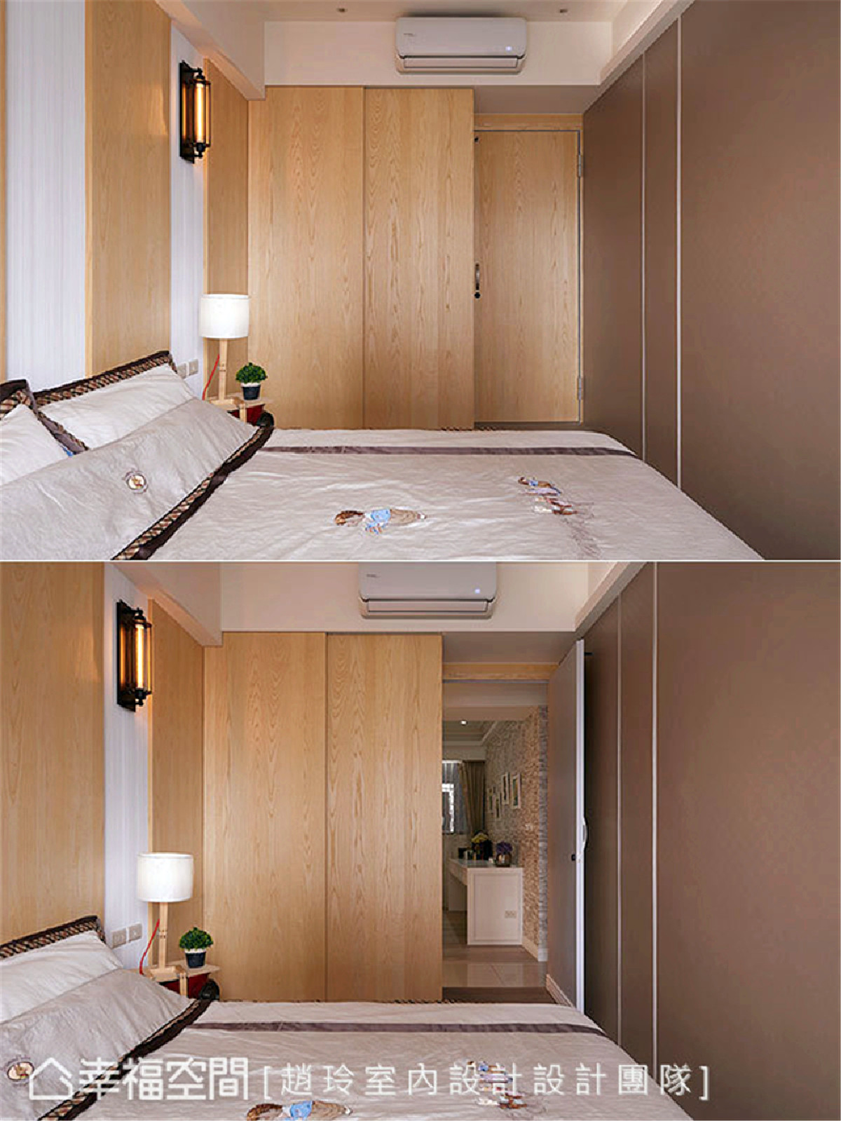 文青气息 壁面以大量木皮包覆,并于床头背墙佐入绷布层次,让青少年喜爱的文青气息弥漫一室。