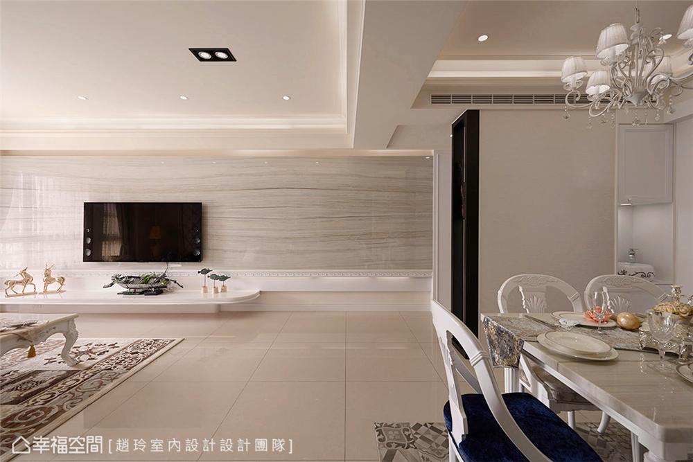 装修设计 三居 白领 旧房改造 收纳 80后 小资 客厅图片来自幸福空间在132平旧藏换新装邂逅现代新古典的分享