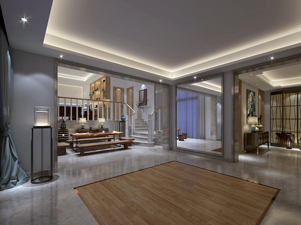 九龙仓国宾一号480平别墅项目装修现代风格设计方案展示,上海腾龙别墅设计作品,欢迎品鉴!