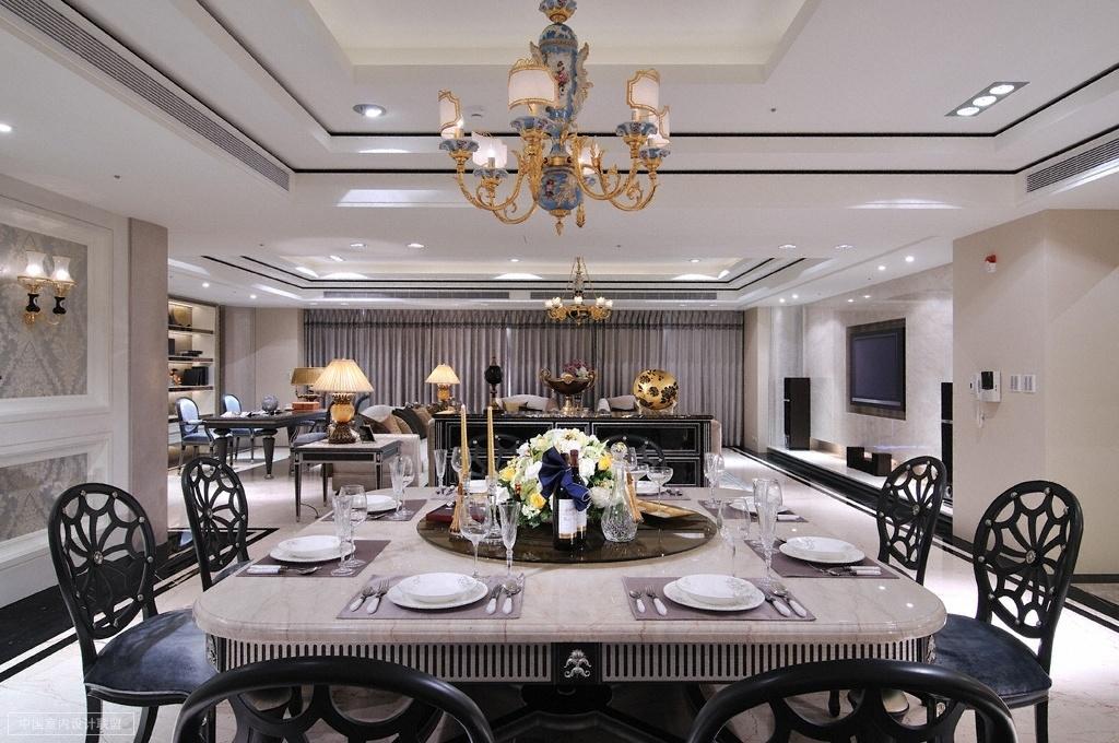 财富海景 装修设计 欧式古典 腾龙设计 餐厅图片来自孔继民在财富海景大宅项目完工实景的分享