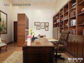 美式 骊山国际 别墅 书房图片来自实创装饰小彩在骊山国际美式装修,400平别墅的分享