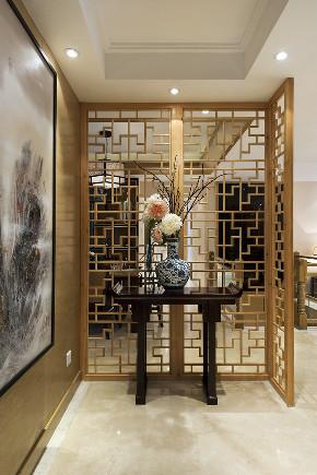中式 四居 大户型 跃层 复式 80后 小资 玄关图片来自高度国际姚吉智在新中式生活美学 175平米大平层的分享