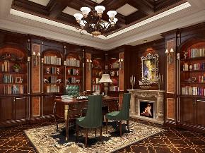 凯迪赫菲庄 装修设计 美式风格 腾龙设计 书房图片来自腾龙设计在凯迪赫菲庄园别墅美式古典风格的分享