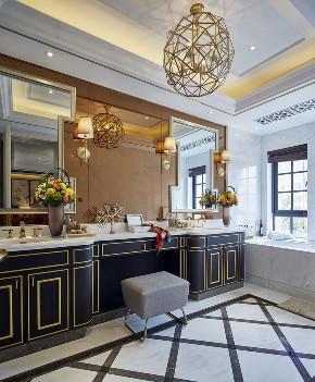 中式 别墅 跃层 复式 大户型 80后 小资 卫生间图片来自高度国际姚吉智在400平米新中式诗意居所的分享