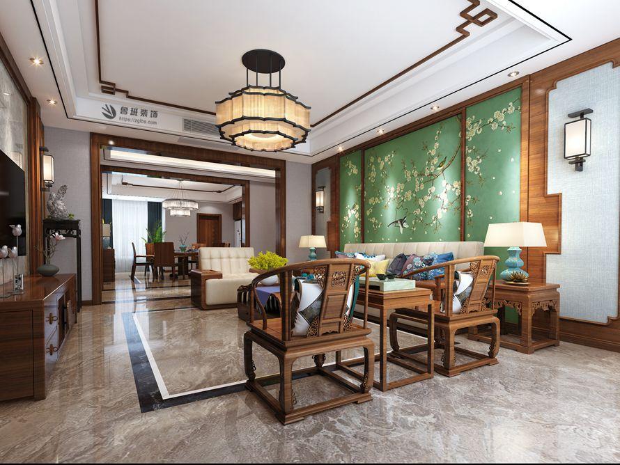 中式 鲁班装饰 国金华府 中式装修 西安装修 客厅图片来自西安鲁班装饰装修在国金华府215平米现代中式装修的分享